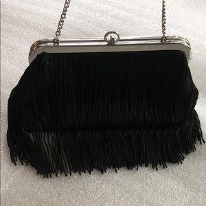 Fringe satin evening purse.